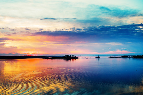 ocean blue sunset orange colour water landscape denmark exposure 4 alien inlet fjord lolland nakskov