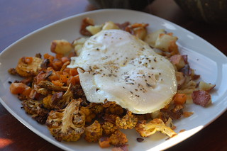Roasted Fall Vegetables with Two Eggs Sunny Side Up