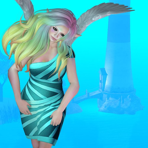 Image Description: WOman in a teal dress with rainbow hair floating in front of the bottom part of a lighthouse.