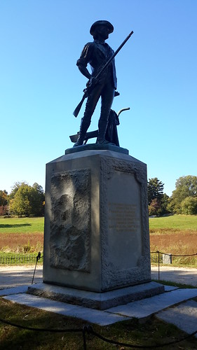 At the North Bridge, this statue commemorates  'the shot heard 'round the world'