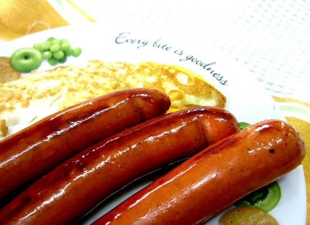 Singapore-made sausages and egg