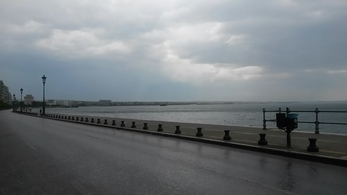 sea sky urban clouds pier greece macedonia thessaloniki