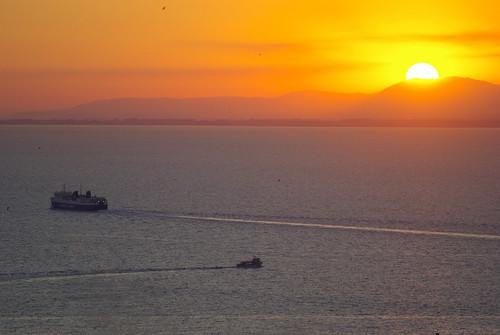 travel sunset sea sky orange sun colour greece patras shipboat