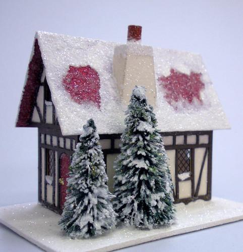 Glittered Paper Fir House and Bottle Brush Trees