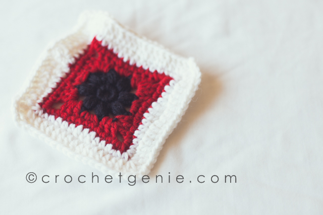 Black White & Red Granny Square Sample