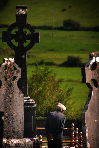 old ireland man cemetery graveyard landscape nikon cross hill hills gravestone celtic d200 visitor grief mourn coclare tulla windswepthill