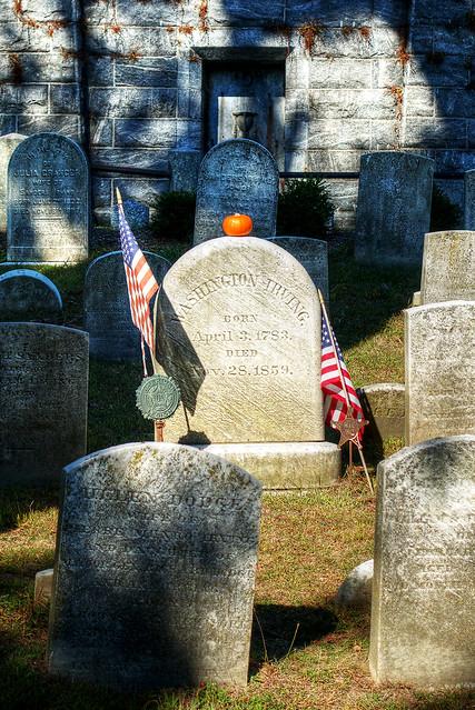 Washington Irving grave, Sleepy Hollow Cemetery.