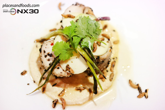 masterchef australia Poached Chicken with Miso Hummus and Green Mango Salad