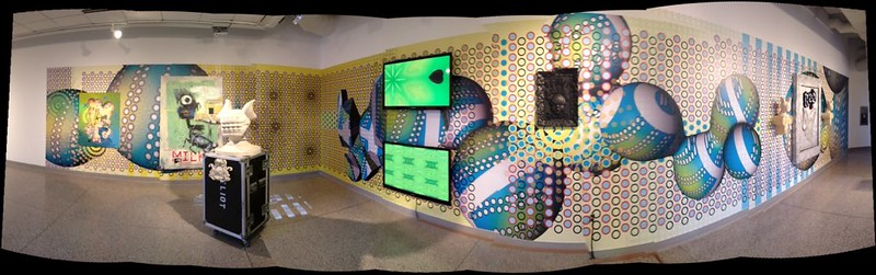 Pano view of Hypertension exhibition and the work of Elliott Earls