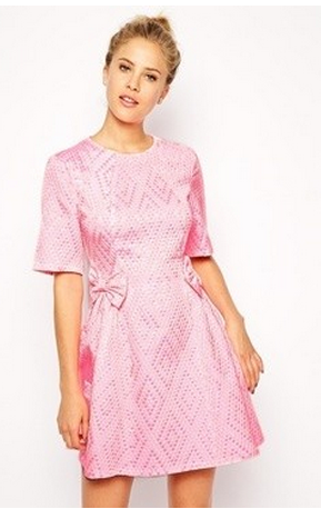 asos pink bow dress
