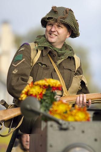 Een 'Canadese' militair tijdens de 70 jarige herdenking van de Slag om de Schelde