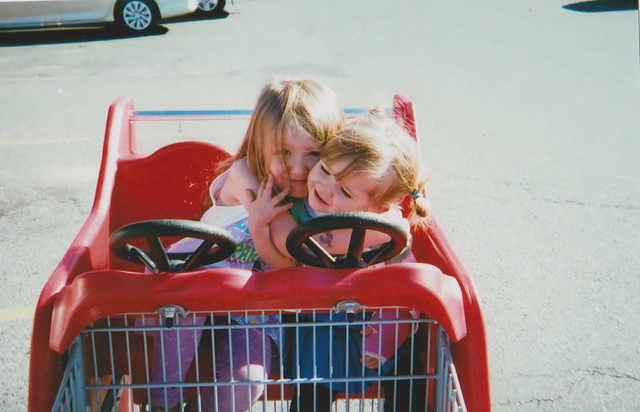 Cordelia and Elise in cart