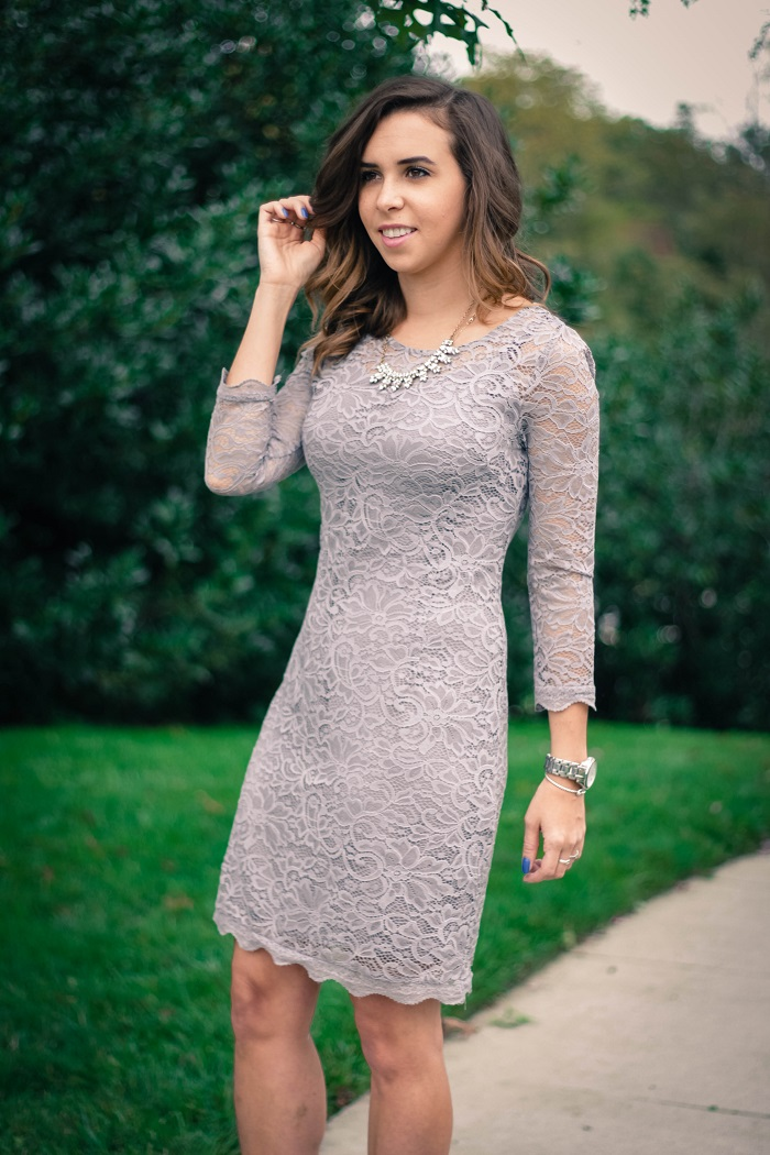 piperlime collection lace dress. grey pumps. chinese laundry scallopped heels va darling. dc style fashion blogger. 2