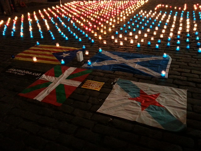 Scottish and Catalan Flags in Candles on Royal Mile, Edinburgh