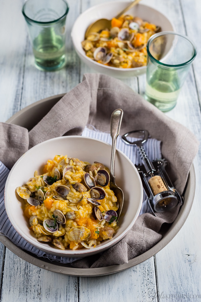 Butternut squash risotto with clams