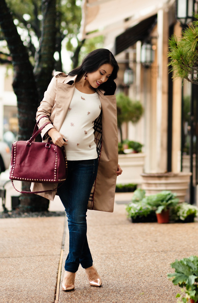 cute & little blog | petite fashion | chicwish double-breasted classic trench, loft white jeweled sweater, handbag heaven beth burgundy barrel studded satchel, kate spade rose gold pumps | fall outfit | maternity bump style pregnant | third trimester 28 w