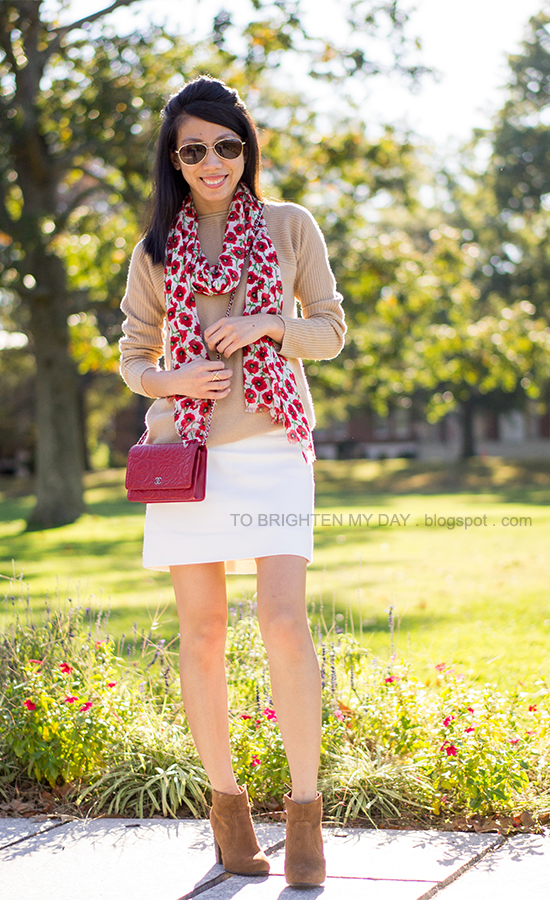 floral scarf, camel sweater, red crossbody bag, white wool skirt, suede ankle boots