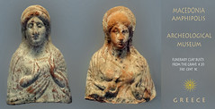 Macedonia, Amphipolis archeological museum, clay funerary busts, grave no 20, Greece #Μacedonia