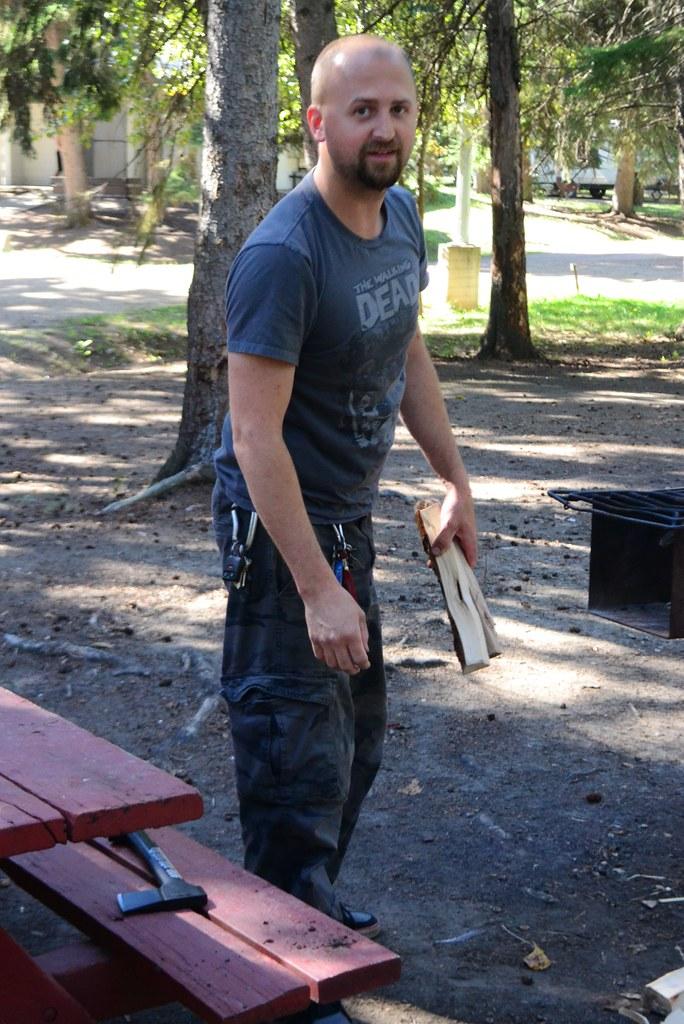 Alex Preparing the Fire Pit