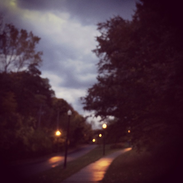 Walking home on a wet autumn evening.