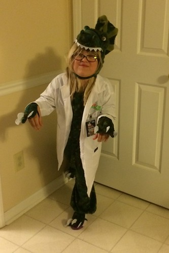 Catie the dinosaur-scientist