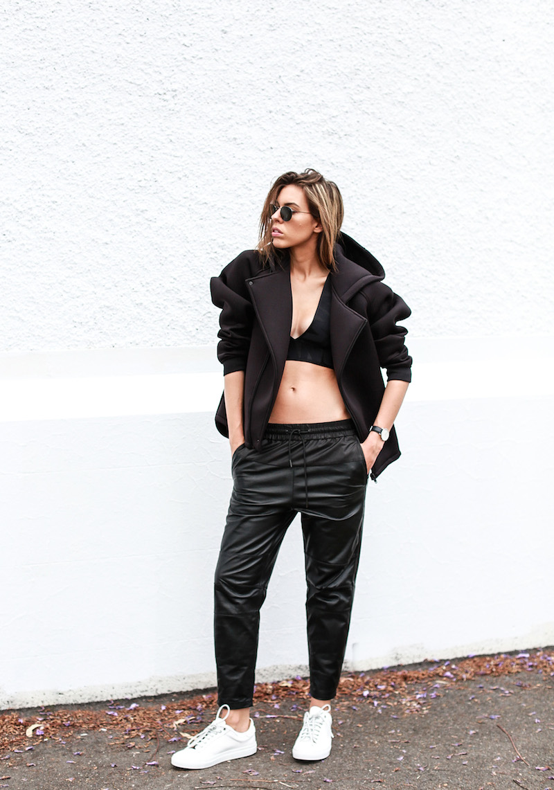 ALEXANDER WANG x H&M all black street style modern legacy fashion blog Australia sport luxe inspo (8 of 14)