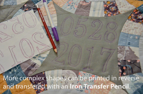 A more complex design can be reverse-printed from the computer, and then transferred with a heat transfer pencil
