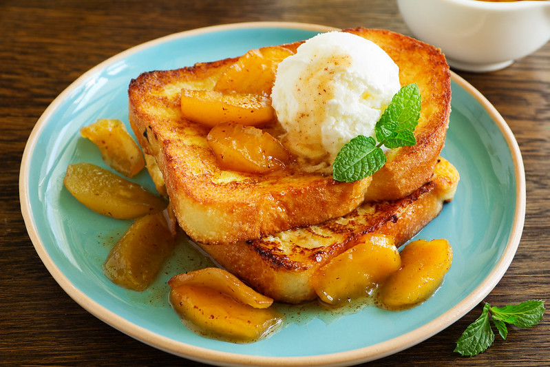 French toast with caramel apples for breakfast.