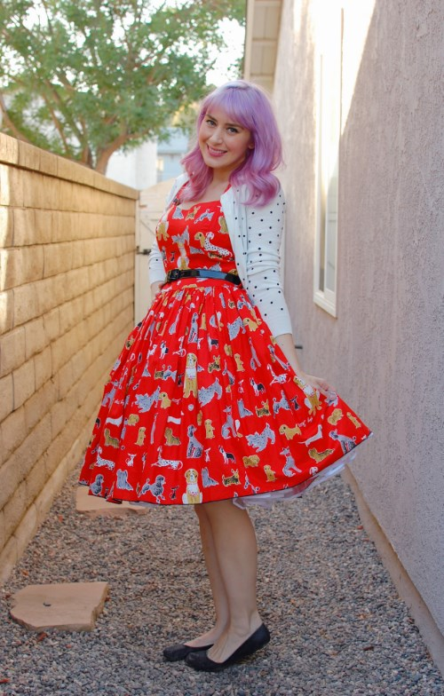 Bernie Dexter Rose Pin Up dress in red dog print 026