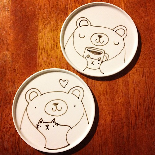 New coaster/catch-all dish designs! 🐻❤🐱 #wip #migrationgoods