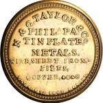 1862 N. & G. Taylor & Co. Three Cents reverse