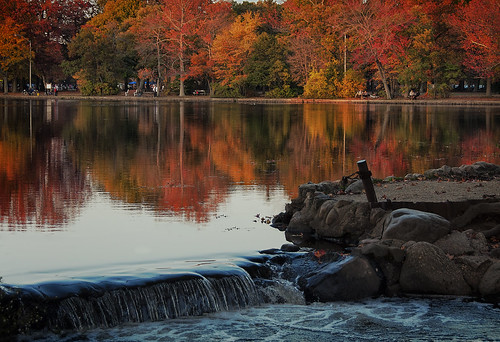 park autumn trees people newyork fall leaves reflections waterfall pond nikon longisland fallfoliage nassau picturesque 2014 18200mm d90 alienskin wowography babylonny belmontlakestatepark exposure6 wowographycom photoshopcc 1465535
