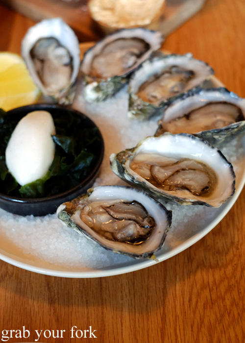 Oysters with chardonnay vinegar sobet and lemon at The Town Mouse, Carlton