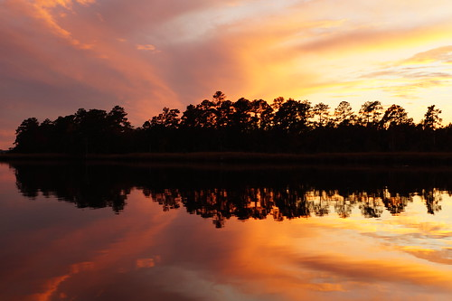 sunset usa clouds creek reflections river nc northcarolina cravencounty fairfieldharbour northwestcreek