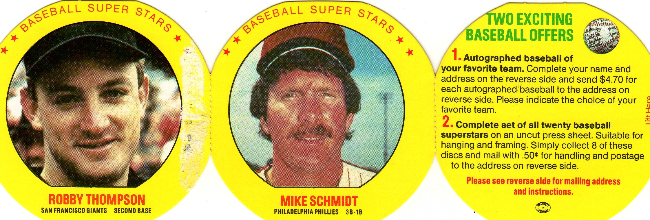 1987 MSA Baseball Superstars Disc Panel