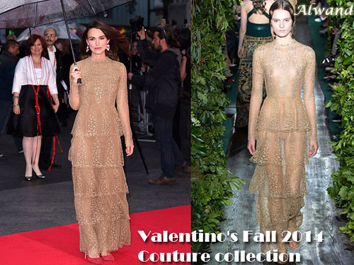 Keira Knightley in Valentino's Fall 2014 Couture floor length gold lace gown
