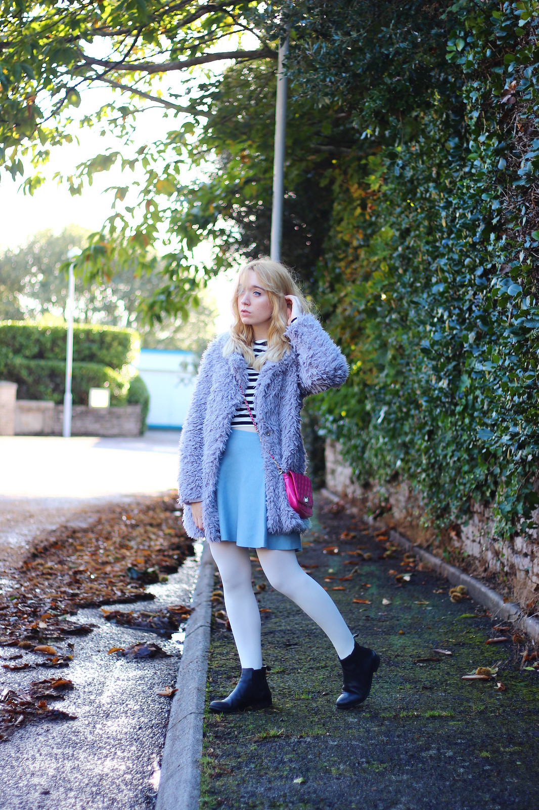 2lilaccoat, pastel outfit, fluffy coat