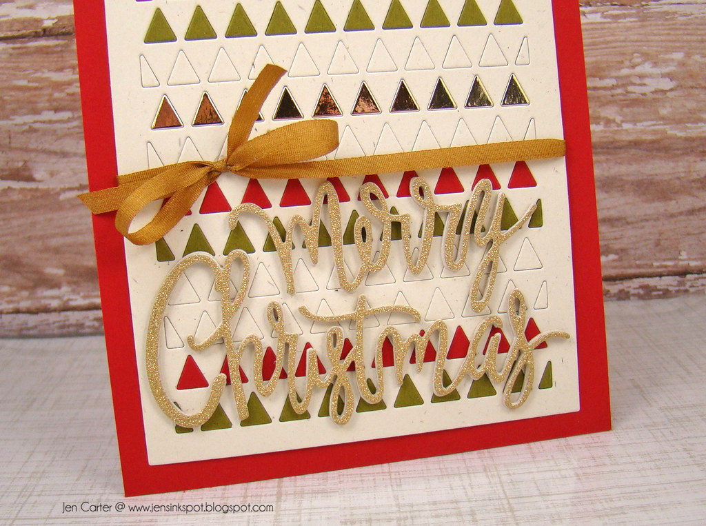 Jen Triangle Card Merry Christmas Closeup WM