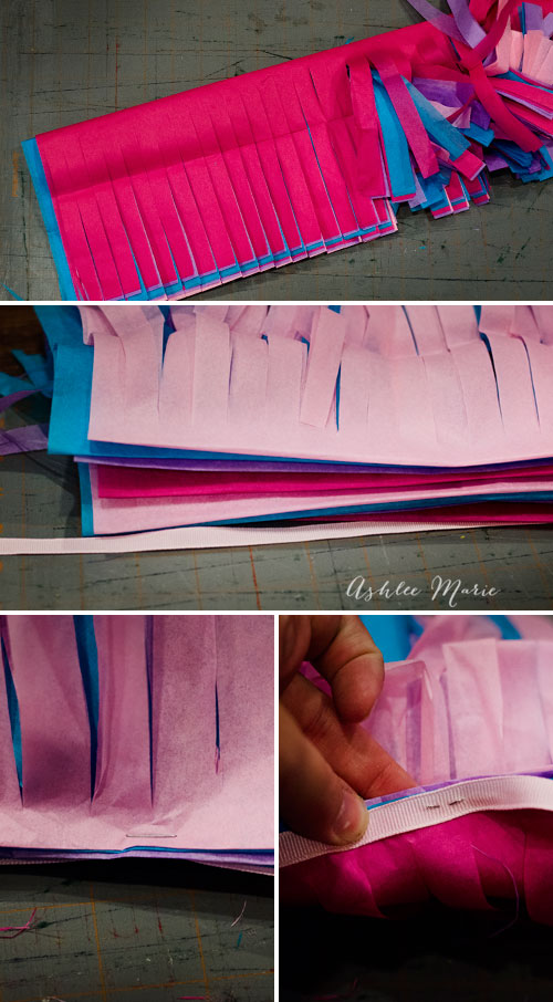 rather than making a ton of individual tassels make long strips and staple!