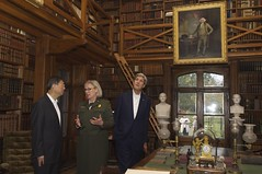 U.S. Secretary of State John Kerry and Chinese State Councilor Yang Jiechi listen as National Park Service Deputy Superintendent Caroline Keinath talks about the books in the Stone Library during a tour of the Adams National Historic Site in Quincy, Massachusetts, following a series of bilateral meetings in the Secretary's hometown of Boston on October 18, 2014. [State Department photo/ Public Domain]
