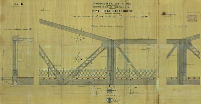 CẦU LONG BIÊN - PONT SUR LE FLEUVE ROUGE - Pont Paul Doumer. Élévation et coupe transversale - Mặt đứng và mặt cắt ngang