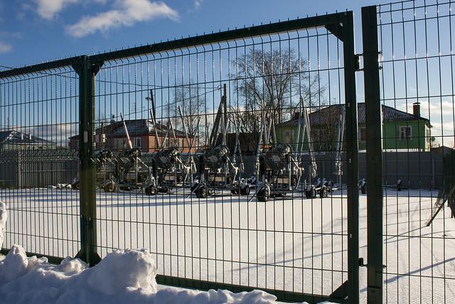 Пушки для производства искусственного снега на лыжном стадионе