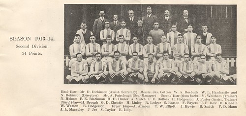 13 The Huddersfield Town team photo, showing the blue and white stripes