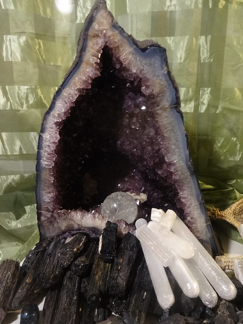 amethyst quartz crystals and tourmaline and selenite