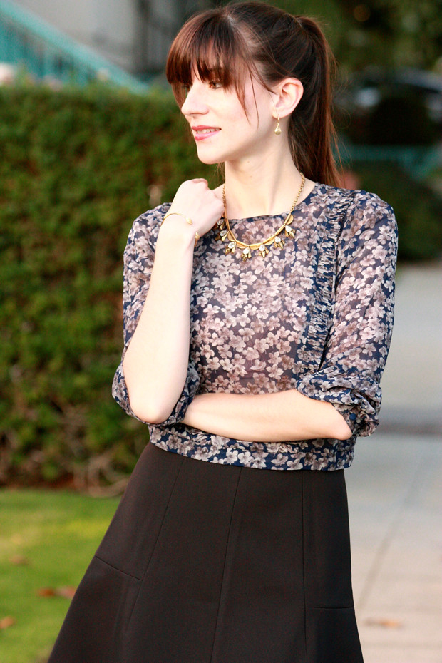 Floral Silk Blouse, Black Skirt
