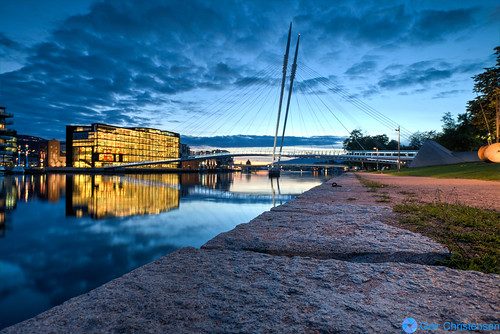 bridge sunset norway stone clouds river cityscape library drammen ypsilon