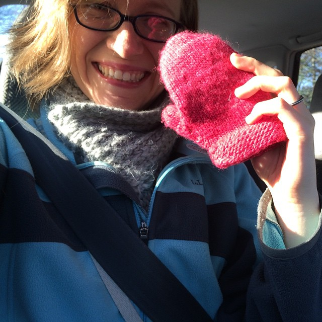 They found the mitten! (M had stuck it in her teacher's bag!)