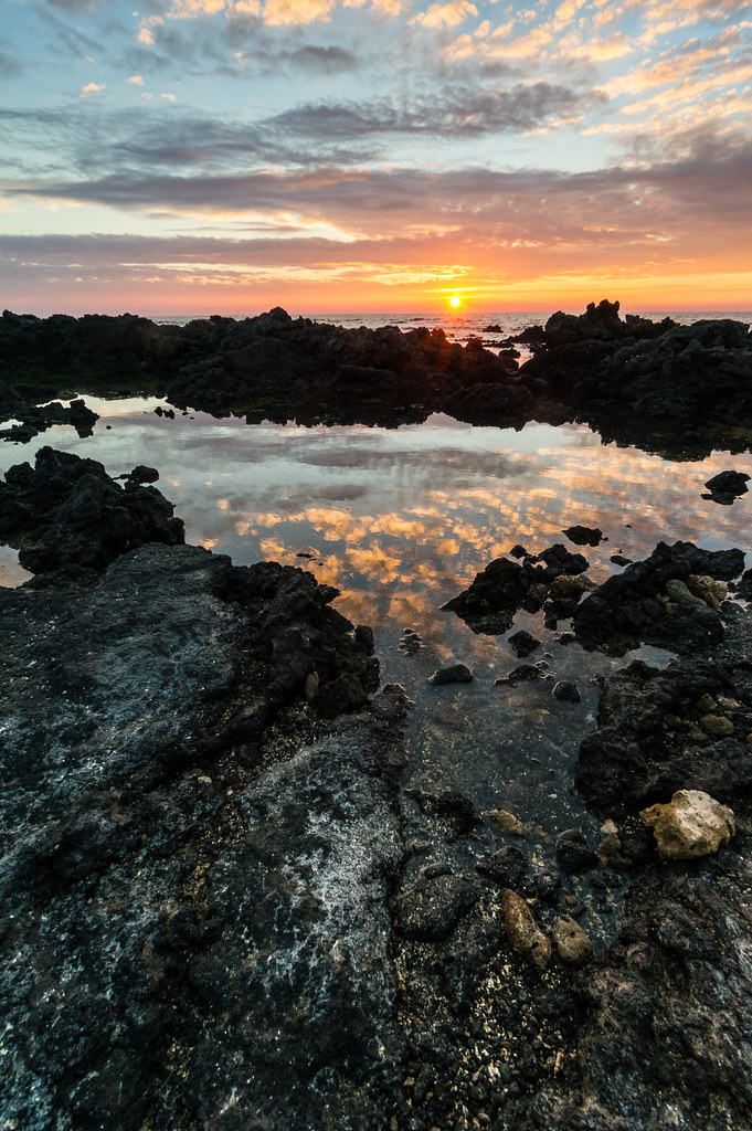 Tide Pools At Sunset, Hawaii