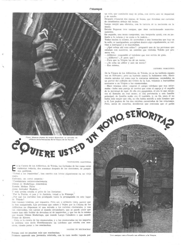 Reportaje sobre la Virgen de Alfileritos. Revista Estampa del 14 de marzo de 1936