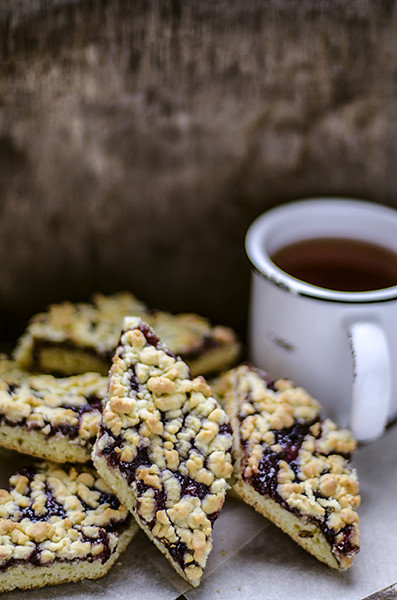 Homemade cookies, grated pie with currant jam